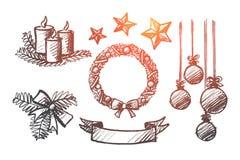 Hand getrokken reeks elementen van de Kerstmisdecoratie stock illustratie