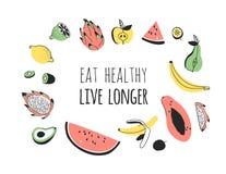 Hand getrokken reeks groenten, vruchten en eco vriendschappelijke woorden Vector artistiek het voedsel en de Veganistcitaat van d vector illustratie