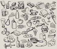 Hand getrokken reeks: keuken - voedsel Stock Foto's