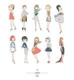 Hand getrokken reeks met leuke maniermeisjes in kleding, met verschillend haarkleur en kapsel, in avond en dagkleding Geïsoleerd4 Royalty-vrije Stock Afbeelding