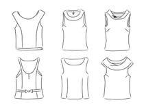 Hand getrokken reeks met vrouwen` s kleren Vectorillustratie voor achtergronden, textieldrukken, Web en grafisch ontwerp Stock Foto's