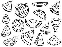 Hand getrokken reeks van watermeloen stock foto