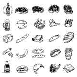 Hand getrokken reeks voedsel en dranken, krabbelsvlees, worsten, bedelaars vector illustratie