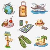Hand getrokken reispictogrammen die op vliegtuig reizen Stock Afbeelding