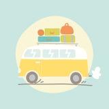 Hand getrokken retro bestelwagen met bagage Royalty-vrije Stock Afbeeldingen