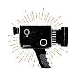 Hand getrokken retro camcorder vectorillustratie stock illustratie