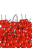 Hand getrokken rode kersen Stock Afbeeldingen