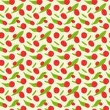 Hand getrokken rode naadloze het patroonachtergrond van gojibessen Royalty-vrije Stock Foto's