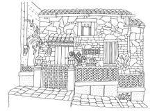 Hand getrokken romantisch huis van mediterrane kust royalty-vrije illustratie