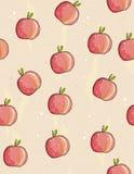 Hand Getrokken Rood Appelen Vectorpatroon, Beige Achtergrond Eenvoudige Leuke Schets Rode Appelen met Weinig Groene Bladeren Wate stock illustratie