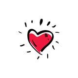 Hand getrokken rood liefde vectordiehart op wit wordt geïsoleerd Stock Foto's