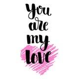 Hand getrokken roze hart met het van letters voorzien Stock Afbeelding