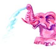 Hand getrokken roze olifant Stock Fotografie