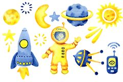 Hand getrokken ruimteelementen Ruimtewaterverfreeks Beeldverhaal ruimteraketten, planeten, sterren, maan voor ontwerpkinderdagver royalty-vrije stock foto