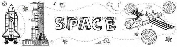 Hand getrokken Ruimteelementenbanner in krabbelstijl met planeten en raketten op witte textuur vectorillustratie als achtergrond  vector illustratie