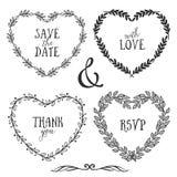 Hand getrokken rustieke uitstekende hartkronen met het van letters voorzien royalty-vrije illustratie