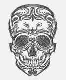 Hand getrokken schedel Stock Afbeelding
