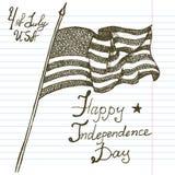 Hand getrokken schets Amerikaanse vlag, de Onafhankelijkheidsdag van de V.S., vectorillustratie Royalty-vrije Stock Foto's