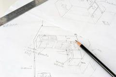 Hand getrokken schets van de keuken met potlood stock afbeelding