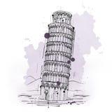Hand getrokken schets van de Leunende Toren van Pisa vector illustratie