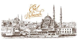 Hand getrokken schets van de wereldberoemde Blauwe moskee met Ramadan Kareem-tekst, Istanboel in vectorillustratie royalty-vrije illustratie