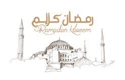 Hand getrokken schets van de wereldberoemde Blauwe moskee met Ramadan Kareem-tekst, Istanboel in vectorillustratie stock illustratie