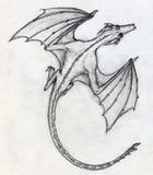 Hand getrokken schets van een draak Stock Foto's