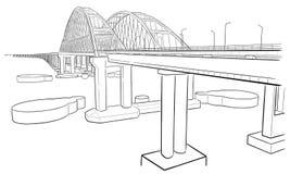Hand getrokken schets van Krimbrug stock illustratie
