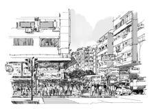 Hand getrokken schets van stadsstraat, cityscape stock illustratie