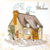Hand getrokken schets van weinig huis in Engelse stijl Stock Afbeelding