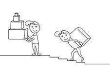 Hand getrokken schets vectorillustratie, leveringsmensen met dozen Royalty-vrije Stock Afbeelding