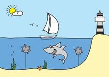 Hand getrokken schets vectorillustratie, zeilboot, haai Royalty-vrije Stock Afbeelding