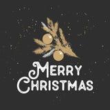 Hand getrokken schetskerstmis en Nieuwjaarvakantie op donkere achtergrond Gedetailleerde uitstekende etstekening vector illustratie