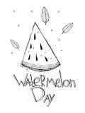 Hand getrokken schetsstijl voor Watermeloendag Vector illustratie Landbouwbedrijf vers die fruit op witte achtergrond wordt geïso Stock Foto