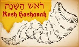Hand Getrokken Shofar met Honing voor Joods Nieuwjaar, Vectorillustratie vector illustratie