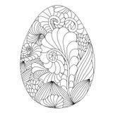 Hand getrokken sierpaasei met krabbelpatroon voor colorin Royalty-vrije Stock Foto's