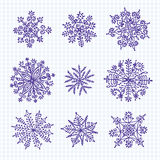 Hand getrokken sneeuwvlokken Stock Foto