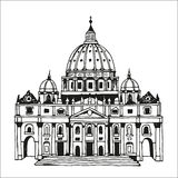 Hand getrokken St Peter Basiliek, Vatikaan, Rome, Italië Stock Foto's