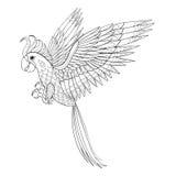 Hand getrokken stammenpapegaai, vogeltotem voor volwassen Kleurende Pagina binnen stock illustratie
