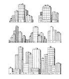 Hand getrokken stedelijke vectorgebouwenwolkenkrabbers stock illustratie
