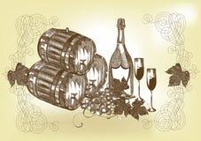 Hand getrokken stilleven met wijn en champagne Royalty-vrije Stock Foto's