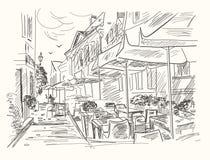 Hand getrokken straatkoffie in oude stad Uitstekende vectorillustratie Stock Afbeelding
