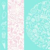 Hand getrokken suikergoedreeks stock illustratie
