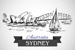 Hand getrokken Sydney Opera House en Sydney Harbour Bridge vector illustratie