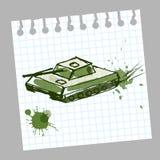 Hand getrokken tank in een notitieboekje Royalty-vrije Stock Afbeelding
