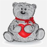 Hand getrokken teddybeer geïsoleerde vector Stock Afbeelding