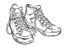 Hand getrokken tennisschoenen Stock Afbeelding