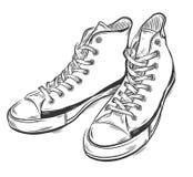 Hand getrokken tennisschoenen Stock Afbeeldingen