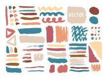 Hand getrokken texturen en borstels met kleurrijke inkt Het winkelen markeringen en pictogrammen Geïsoleerde manierinzameling Stock Fotografie
