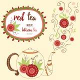 Hand getrokken theepot met rode hibiscusthee Perfecte stoom met krabbelbloemen Stock Afbeelding